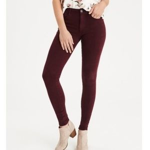 American Eagle Maroon Super Stretch Jeggings